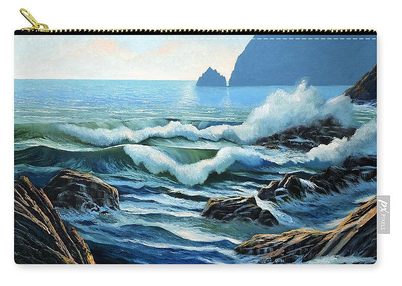Rolling Breakers Carry-all Pouch featuring the painting Rolling Breakers by Frank Wilson