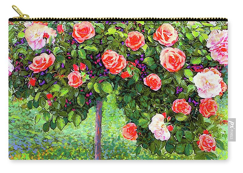 Landscape Carry-all Pouch featuring the painting Rose Tree Reverie by Jane Small