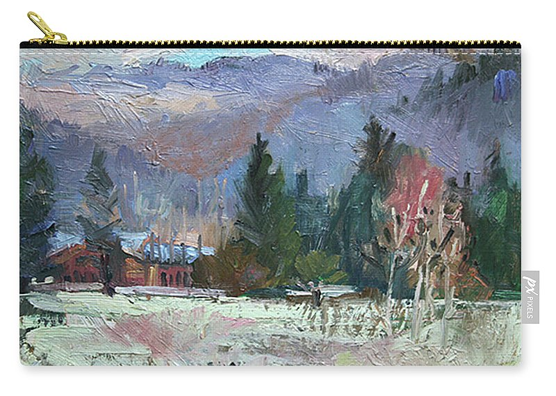 Plein Air Snow Scene Carry-all Pouch featuring the photograph Rough Winter by Betty Jean Billups