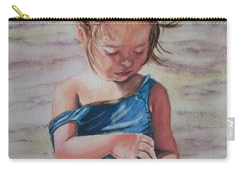 Beach Carry-all Pouch featuring the painting Sand by Karen Ilari