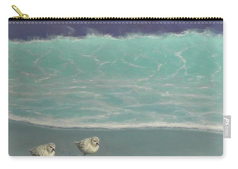 Sandpipers Carry-all Pouch featuring the painting Sandpipers by Paul Emig