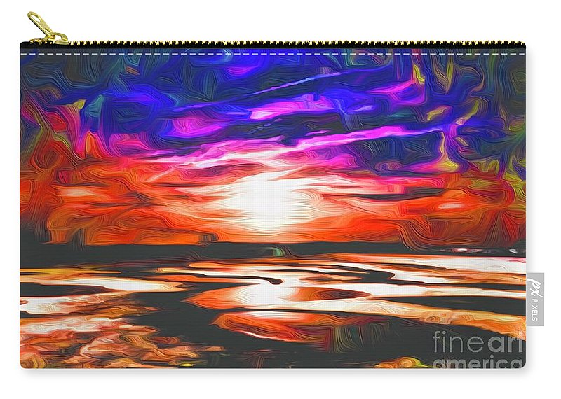 Landscape Carry-all Pouch featuring the digital art Sands Beach by Michael Stothard