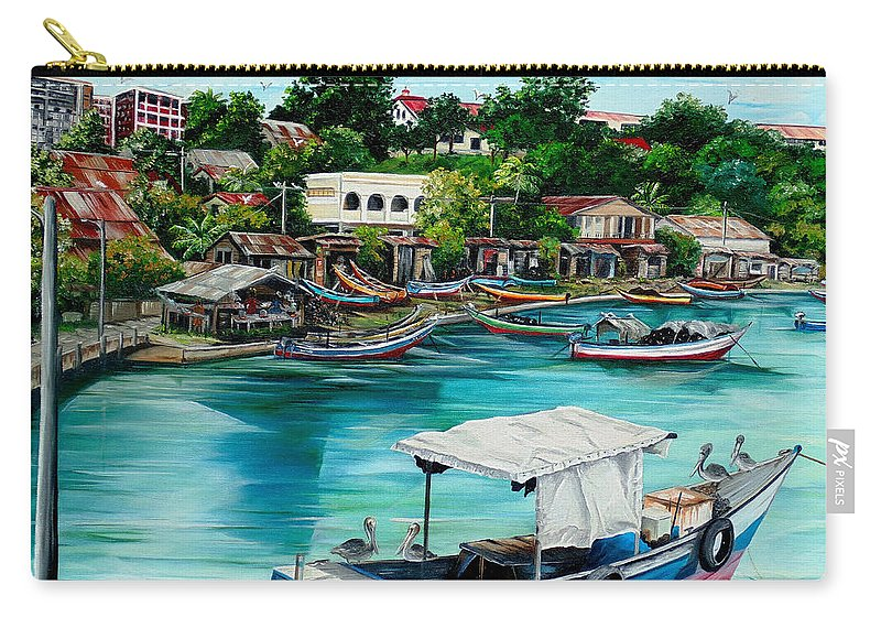 Ocean Painting Sea Scape Painting Fishing Boat Painting Fishing Village Painting Sanfernando Trinidad Painting Boats Painting Caribbean Painting Original Oil Painting Of The Main Southern Town In Trinidad  Artist Pob Carry-all Pouch featuring the painting Sanfernando Wharf by Karin Dawn Kelshall- Best