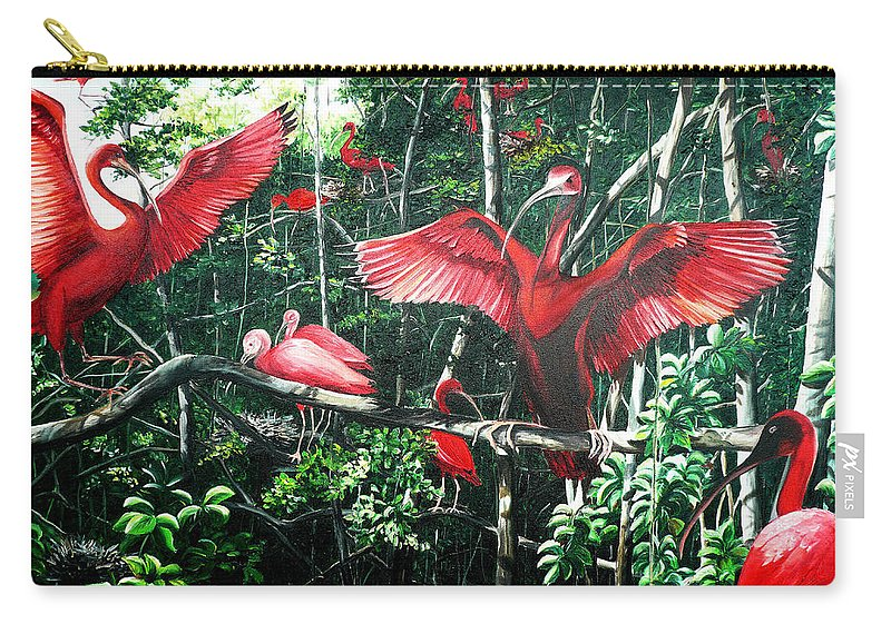 Caribbean Painting Scarlet Ibis Painting Bird Painting Coming Home To Roost Painting The Caroni Swamp In Trinidad And Tobago Greeting Card Painting Painting Tropical Painting Carry-all Pouch featuring the painting Scarlet Ibis by Karin Dawn Kelshall- Best