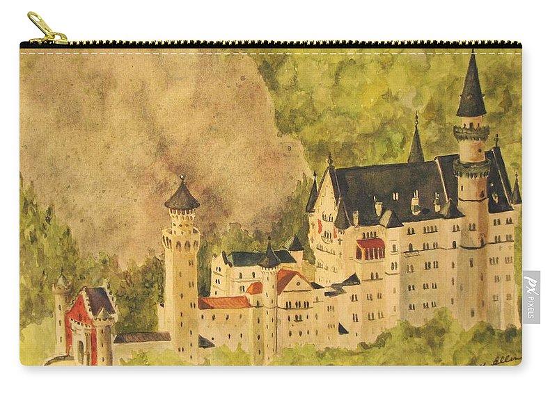 Travel Carry-all Pouch featuring the painting Schloss Neuschwanstein by Mary Ellen Mueller Legault