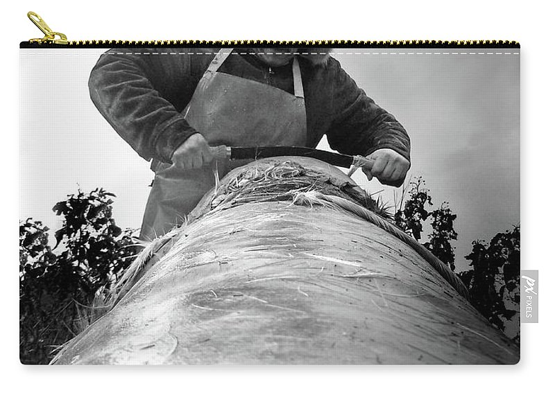 Tanning Carry-all Pouch featuring the photograph Scraping the Hide by Nancy Griswold