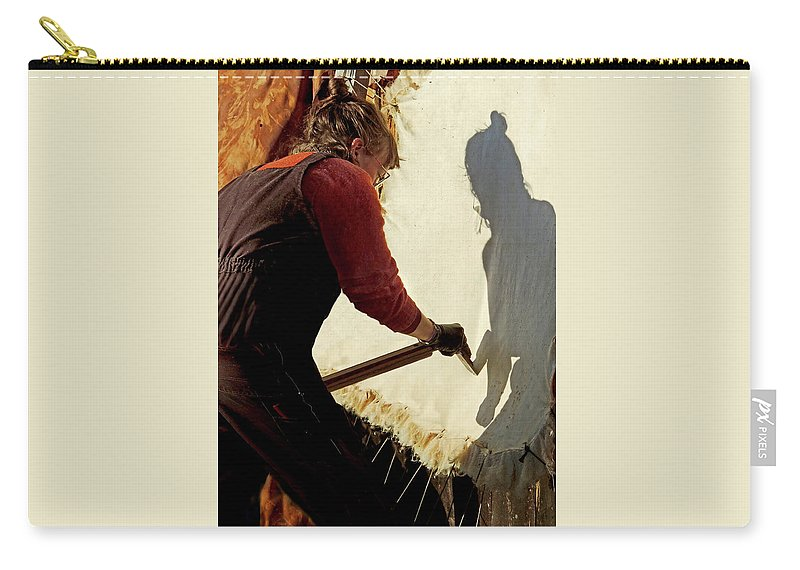 Native American Carry-all Pouch featuring the photograph Scraping with Spirit by Nancy Griswold