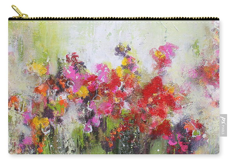 Flowers Carry-all Pouch featuring the mixed media Seeds of love by Claudia Gantenbein