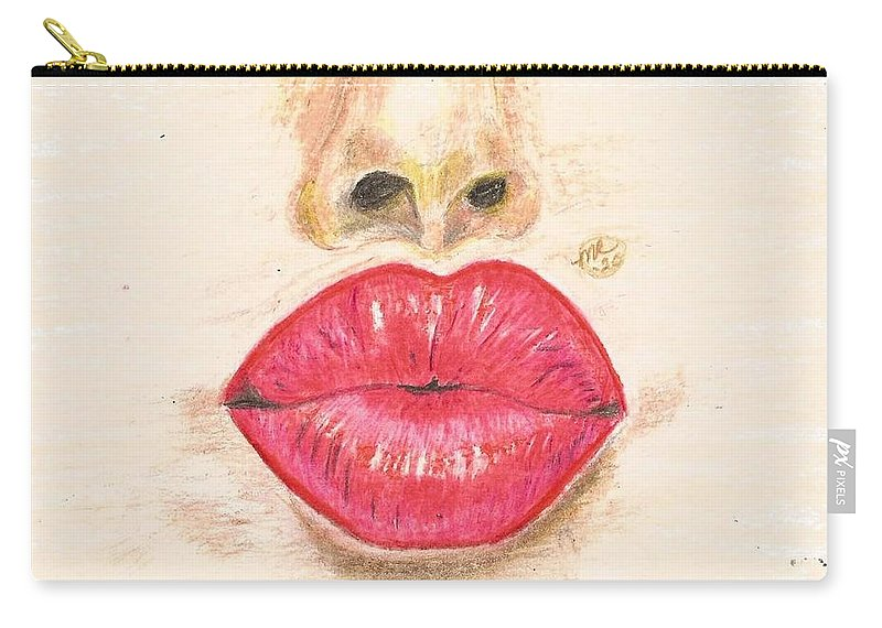 Sexy Red Lips Carry-all Pouch featuring the painting Sexy Red Lips by Monica Resinger