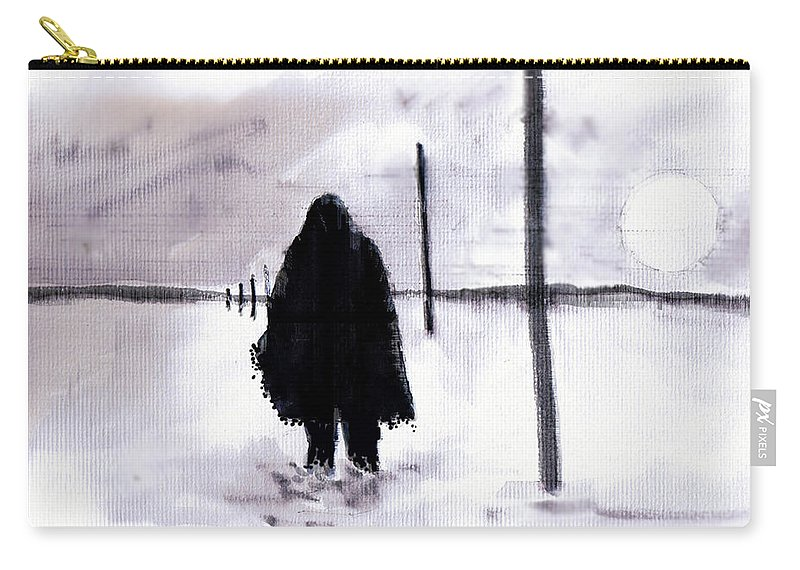 Siberia Carry-all Pouch featuring the drawing Siberian Stroll-Dr. Zhivago by Seth Weaver