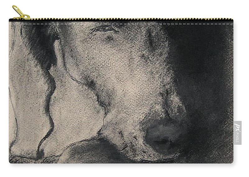 Weimaraner Carry-all Pouch featuring the drawing Silhouette by Cori Solomon
