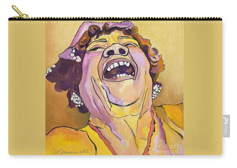 Pat Saunders-white Carry-all Pouch featuring the painting Singing The Blues by Pat Saunders-White