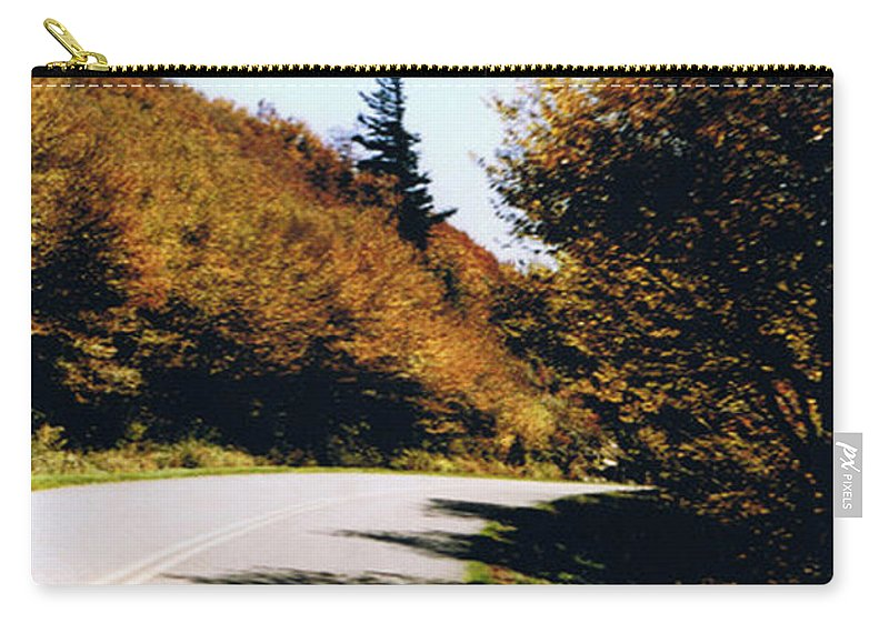 High In The Great Smoky Mtn. As You Round A Curve Stands This Noble Spruce. Carry-all Pouch featuring the photograph Single Spruce by Seth Weaver