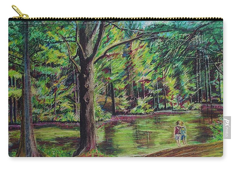 Family Carry-all Pouch featuring the pastel Sisters At Wason Pond by Sean Connolly