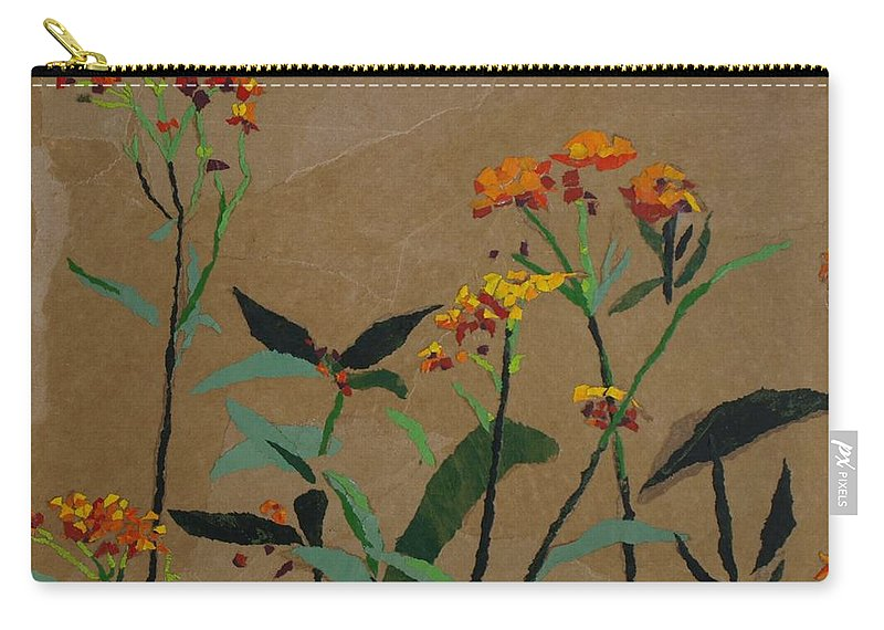 Floral Recycled Collage Carry-all Pouch featuring the painting Smith Garden by Leah Tomaino