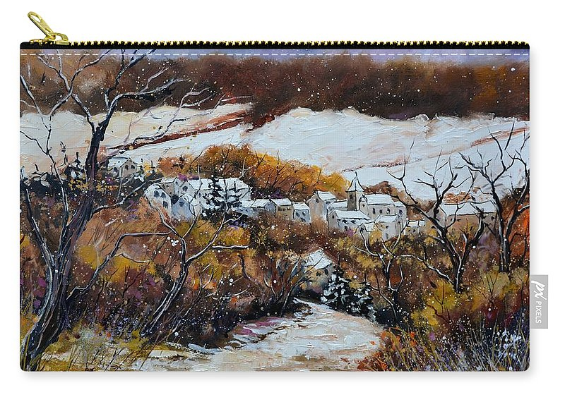 Landscape Carry-all Pouch featuring the painting Snow in October by Pol Ledent