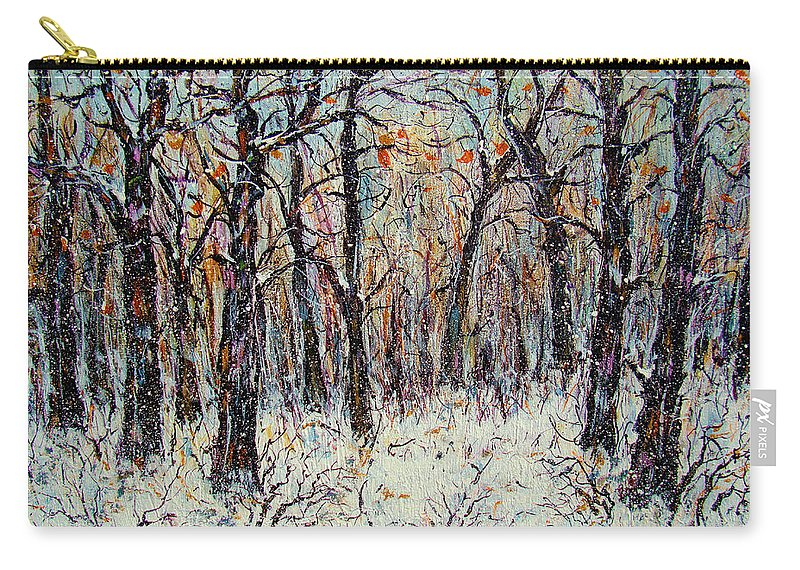 Landscape Carry-all Pouch featuring the painting Snowing In The Forest by Natalie Holland