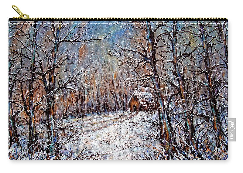 Landscape Carry-all Pouch featuring the painting Snowing in the Woods by Natalie Holland