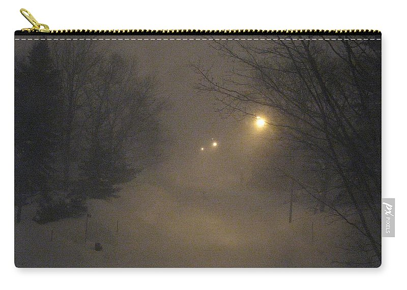 Snow Carry-all Pouch featuring the photograph Snowy Night by Mary Ellen Mueller Legault