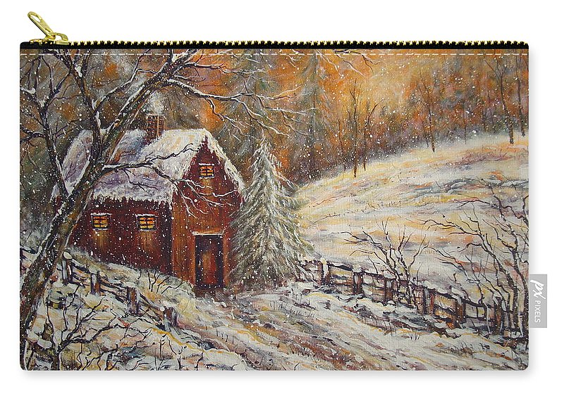 Landscape Carry-all Pouch featuring the painting Snowy Sunset by Natalie Holland