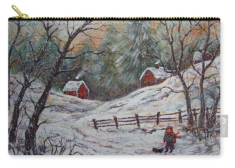 Landscape Carry-all Pouch featuring the painting Snowy Walk. by Natalie Holland