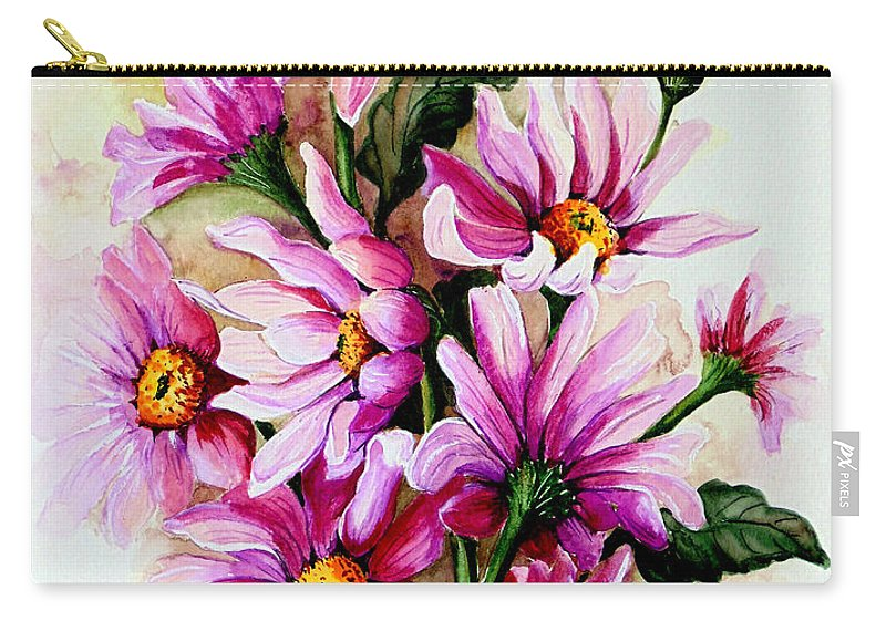 Pink Daisy Floral Painting Flower Painting Botanical Painting Bloom Painting Greeting Card Painting Carry-all Pouch featuring the painting So Pink by Karin Dawn Kelshall- Best