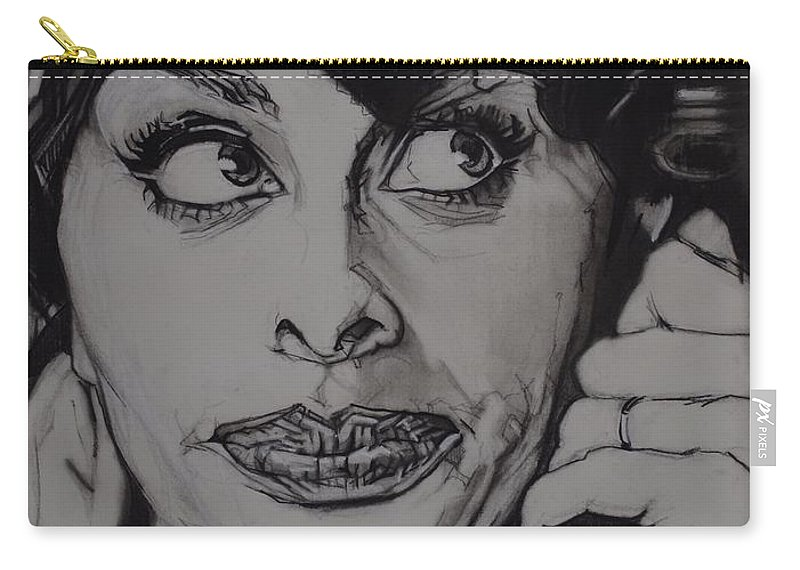 Charcoal On Paper Carry-all Pouch featuring the drawing Sophia Loren Telephones by Sean Connolly