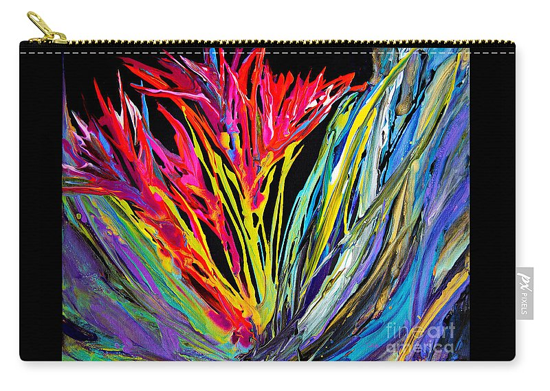 Impressionist Flowers Bright Colorful Fun Dynamic Organic Compelling Energy Overflowing Carry-all Pouch featuring the painting Spikey and Bright 7680 by Priscilla Batzell Expressionist Art Studio Gallery
