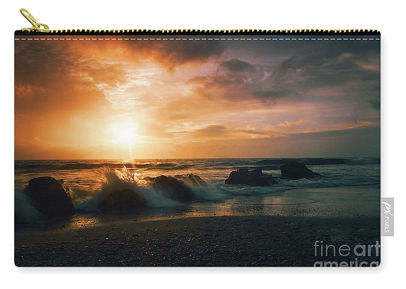 Beach Carry-all Pouch featuring the photograph Splash On Rocks by Vicente Sargues