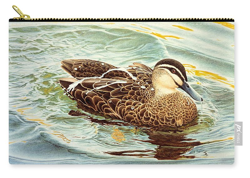 Watercolour Birds Carry-all Pouch featuring the painting Splash - Pacific Black Duck by Frances McMahon