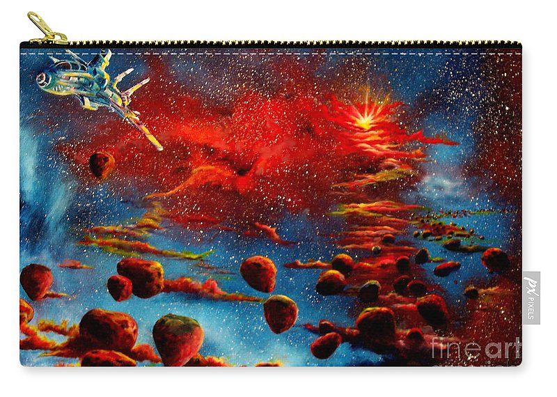Nova Carry-all Pouch featuring the painting Starberry Nova Alien excape by Murphy Elliott