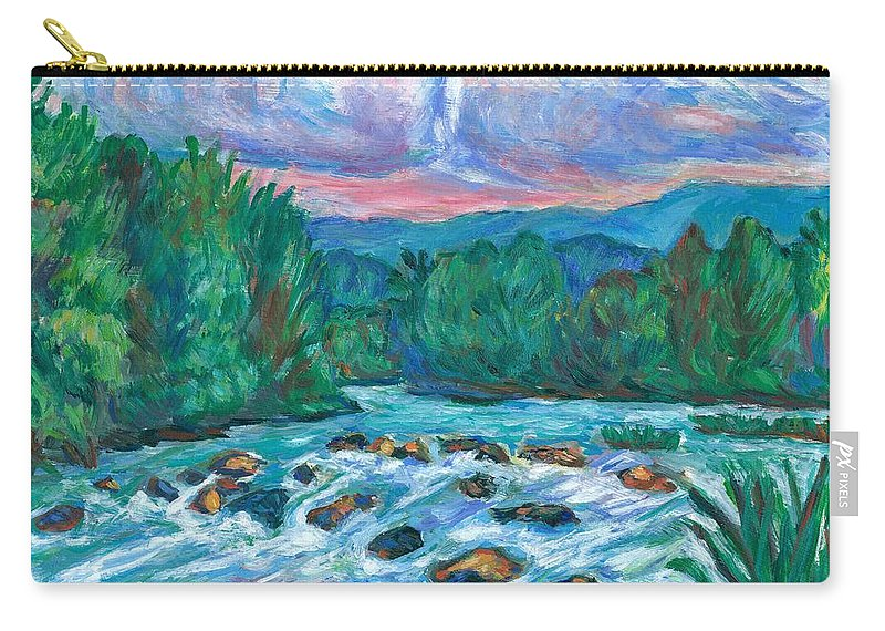 Landscape Carry-all Pouch featuring the painting Stepping Stones on the New River by Kendall Kessler