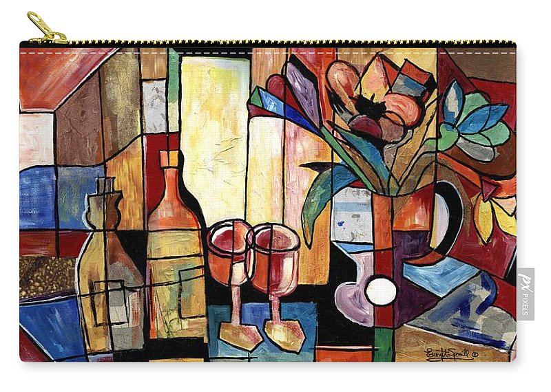 Everett Spruill Carry-all Pouch featuring the painting Still Life with Wine and Flowers for two take 2 by Everett Spruill