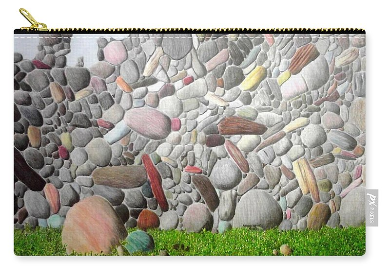 Stones Carry-all Pouch featuring the painting Stoned Wall by A Robert Malcom