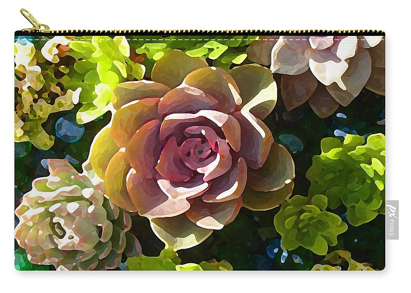 Succulent Carry-all Pouch featuring the painting Succulent Pond 3 by Amy Vangsgard