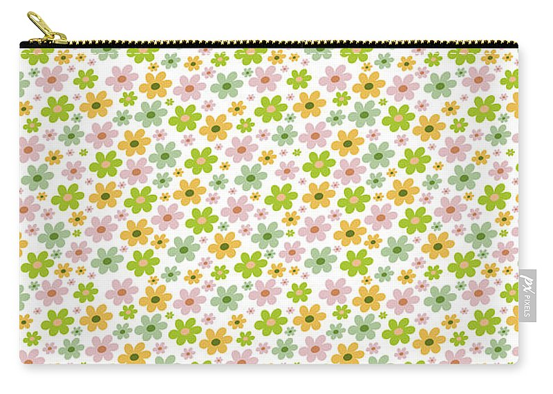Floral Pillows Carry-all Pouch featuring the digital art Summer Flowers by Log and Mitten