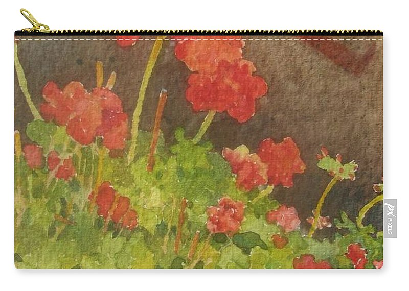 Geraniums Carry-all Pouch featuring the painting Summers End by Mary Ellen Mueller Legault