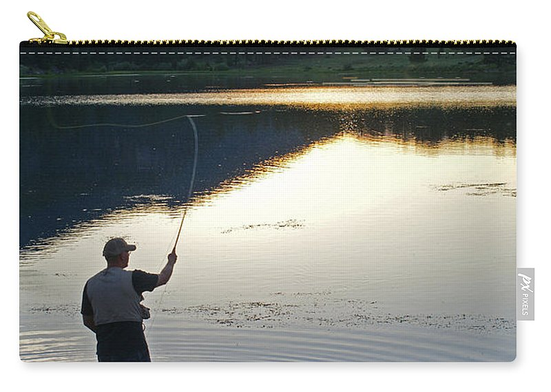 Fishing Carry-all Pouch featuring the photograph Sunrise Lily Lake by Heather Coen