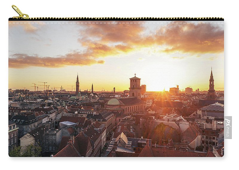 City Carry-all Pouch featuring the photograph Sunset above Copenhagen by Hannes Roeckel
