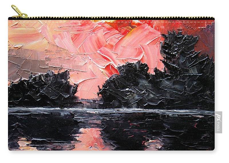 Lake After Storm Carry-all Pouch featuring the painting Sunset. After storm. by Sergey Bezhinets