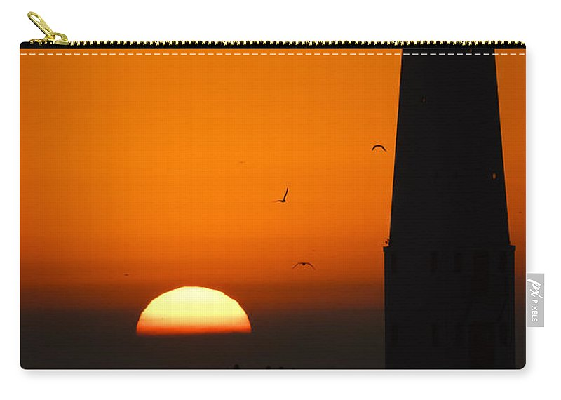3scape Carry-all Pouch featuring the photograph Sunset at Frankfort North Breakwater Lighthouse by Adam Romanowicz