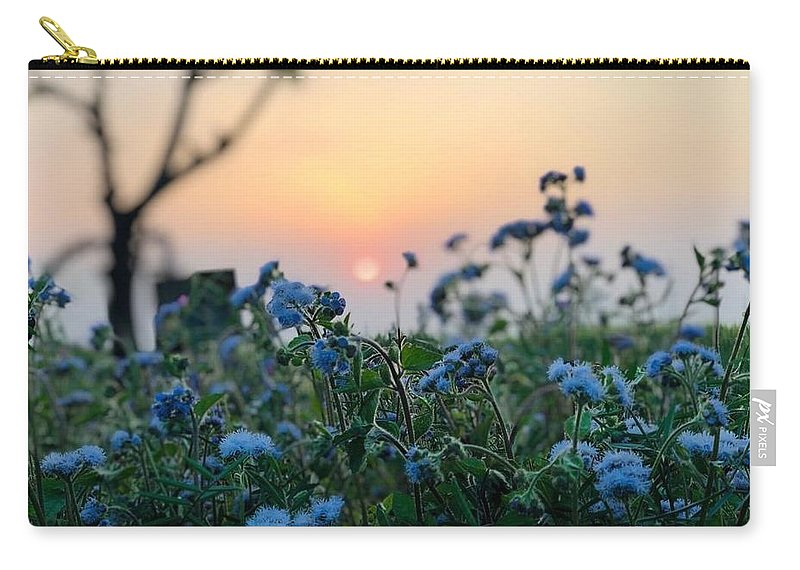 Flowers Carry-all Pouch featuring the photograph Sunset Behind Flowers by Prashant Dalal
