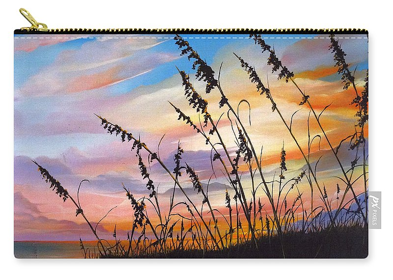 Ocean Painting Carry-all Pouch featuring the painting Sunset Fort Desoto Beach by Karin Dawn Kelshall- Best