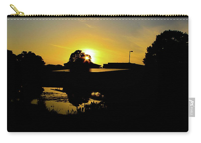 Landscape Carry-all Pouch featuring the digital art Sunset over Building by Daniel Cornell