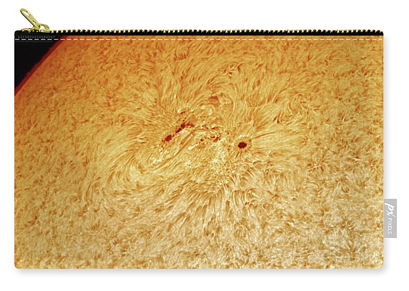 Sunspots Carry-all Pouch featuring the photograph Sunspot AR 2781 by Prabhu Astrophotography