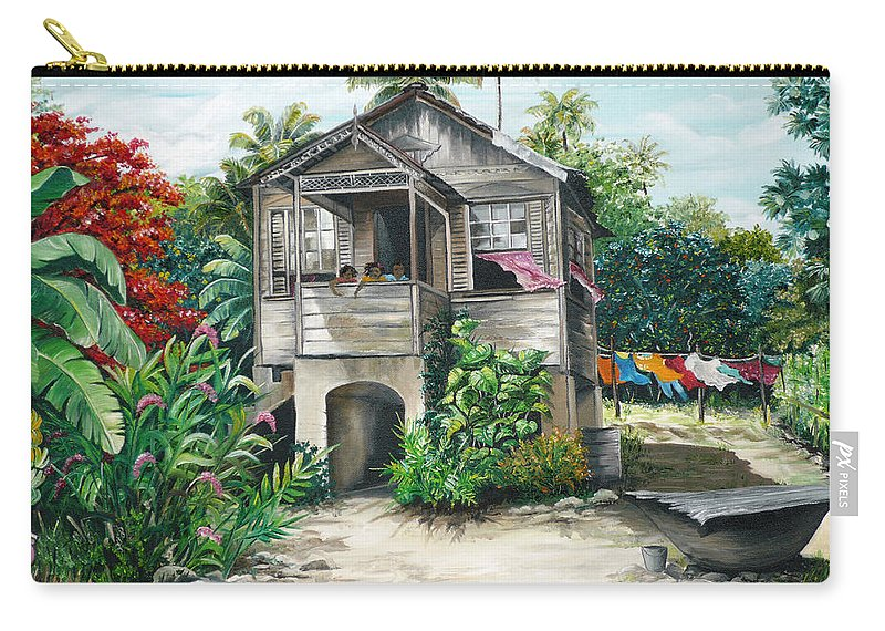 Landscape Painting Caribbean Painting House Painting Tobago Painting Trinidad Painting Tropical Painting Flamboyant Painting Banana Painting Trees Painting Original Painting Of Typical Country House In Trinidad And Tobago Carry-all Pouch featuring the painting Sweet Island Life by Karin Dawn Kelshall- Best