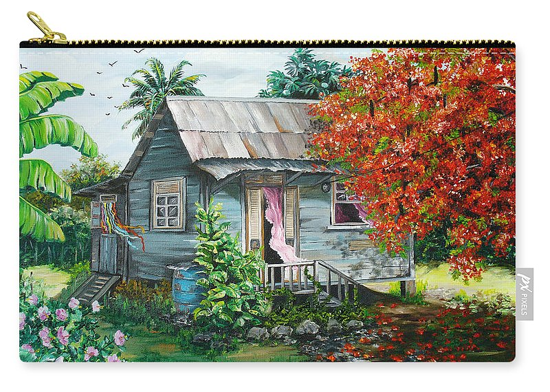 Caribbean Painting Original Painting Trinidad And Tobago ..house Painting Flamboyant Tree Painting Red Blossoms Painting Floral Painting Tree Painting Tropical Painting Carry-all Pouch featuring the painting Sweet Tobago Life. 2 by Karin Dawn Kelshall- Best