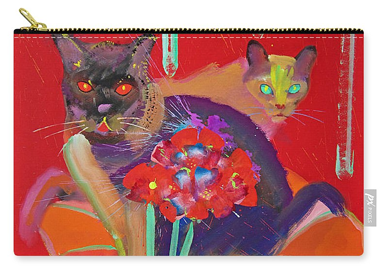 Burmese Cat Carry-all Pouch featuring the painting Symphony In Red Two by Charles Stuart