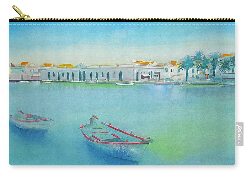Boat Carry-all Pouch featuring the painting Tavira Portugal the Old Market by Charles Stuart