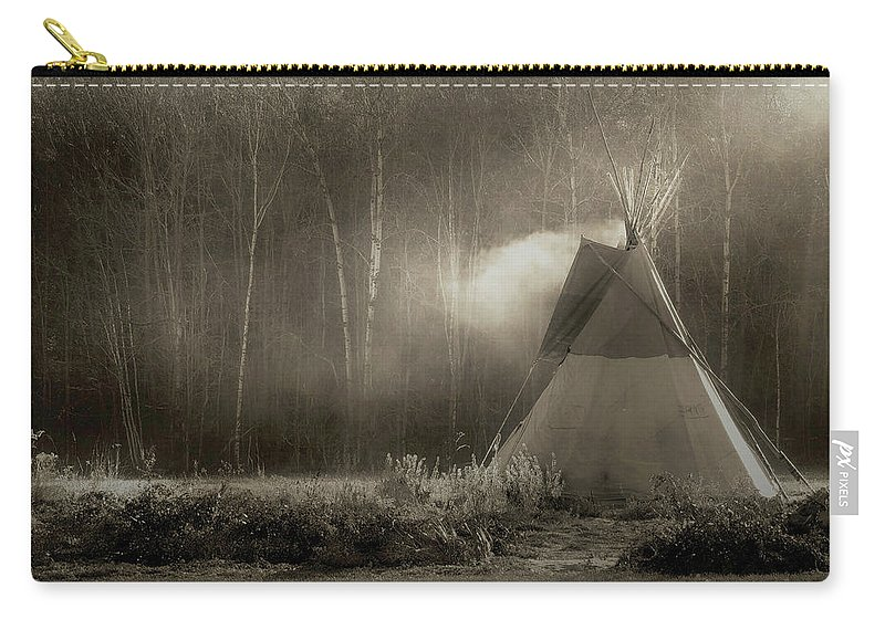 Teepee Carry-all Pouch featuring the photograph Teepee in the Light by Nancy Griswold